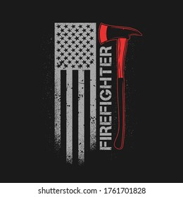 fire fighter axe with american flag grunge