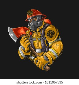 fire fighter with axe illutration vector graphic