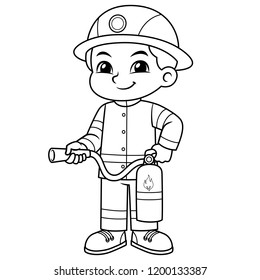 Fire Fighter Boy Ready To Spray With Fire Extinguisher BW.