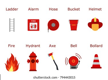 Fire fighter equipment. Flat desing illustration