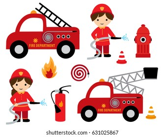 Fire fighter girl and boy with different fire related cliparts icon collection