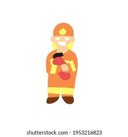 Fire Fighter hug a fire extinguisher cute character illustrations isolated
