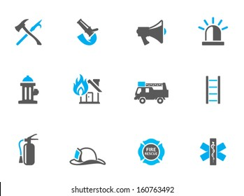 Fire fighter icons in duo tone colors