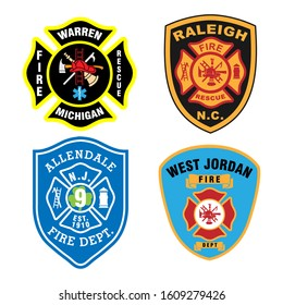 Fire fighter logo. Badge of fire department symbol. Isolated on white background. Vector eps 10