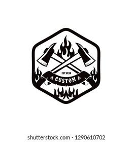 fire fighter logo design vector template