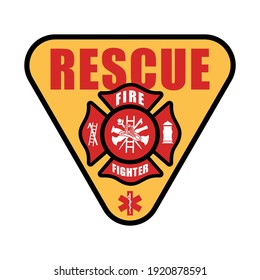 Fire fighter logo symbol vector template. Safety icon. Badge and emblem fire department symbol. Eps 10