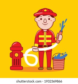Fire fighter profession with flat design style. Vector illustration.