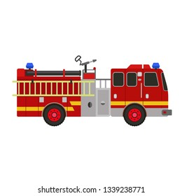 Fire fighter truck icon. Flat illustration of fire fighter truck vector icon for web design
