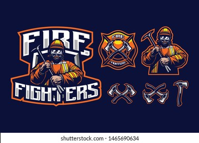 Fire fighters mascot style with axe accessory and fire fighter logo isolated on navy blue background