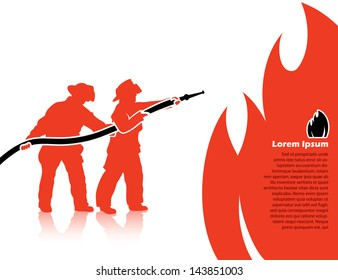 Fire fighters - vector illustration