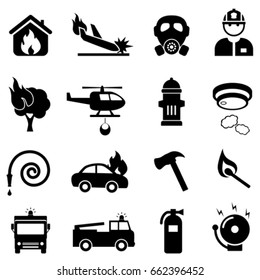 Fire fighting related web icon set