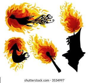 Fire Figures Abstract Vector Illustration Art