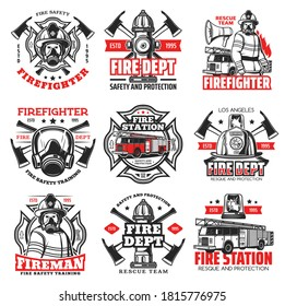 Fire and firefighter department icons, fireman helmet and axe vector badges. Fire fighter rescue team emblems with water hydrant, safety hat and fire engine truck ladder, firefighting emergency signs