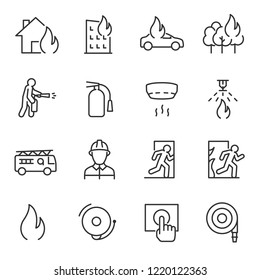 Fire and firefighting, icon set. fire prevention and elimination, linear icons. Line with editable stroke