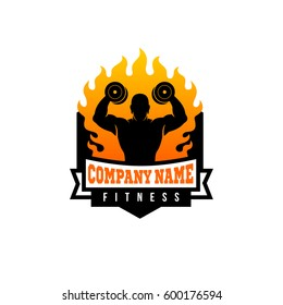 Fire Fitness Logo / Flame Workout Logo