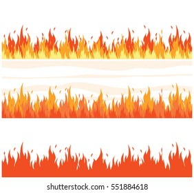 Fire flame background. Set of fire banner. Vector illustration.