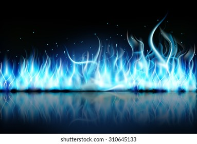 fire flame blue on black background. Vector