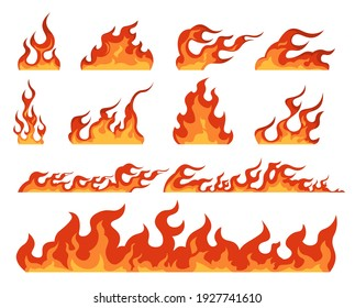 Fire flame. Cartoon bonfire and fiery borders decorative elements. Isolated bright red and orange blaze, warning signs of flammable objects. Colorful templates for burning building, vector hot set