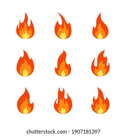 Fire flame cartoon set. Collection of hot flaming element. Vector flat illustration.