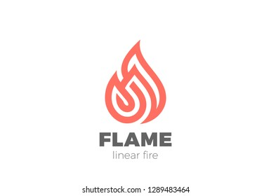 Fire Flame Droplet Logo design shape vector template Linear style. Luxury Logotype concept icon.