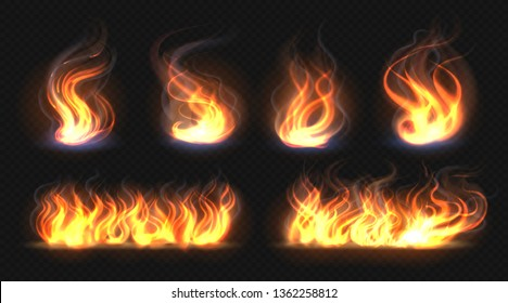 Fire flame effect. Realistic burning line on black background, transparent hot orange light effects. Vector isolated candlelight fire collection