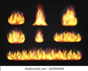 Fire flame effect. Set of transparent burning light effects.