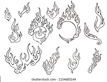 fire or flame element Chinese  oriental ornament tattoo style free hand drawing illustration  vector set