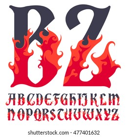 Fire flame font caps, hot, Vector illustration in flat, cartoon style isolated from the background, EPS 10