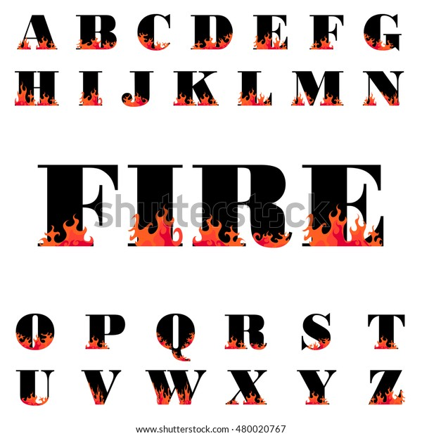 Fire Flame Font Caps Hot Vector Stock Vector (Royalty Free