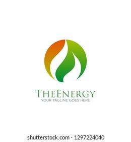 fire flame gas energy logo on circle vector design template. oil, gas energy, industrial, factory, petroleum logo concept