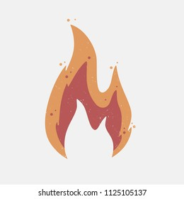 Fire flame with grunge texture. Vector illustration.