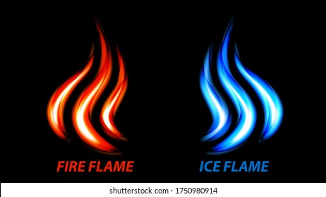 Fire flame and ice flame vector icon