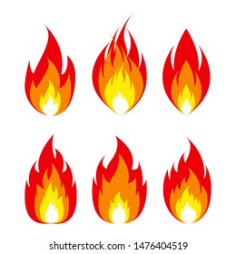 Fire flame icon. emoticon flame symbol isolated on white, fire emoji and logo vector illustration