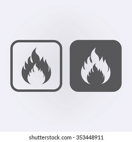 Fire flame icon set . Vector illustration
