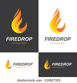 Fire flame icon in a shape of drop. Oil and gas industry logo design concept.
