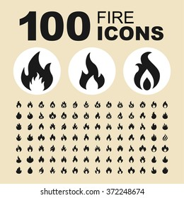Fire and flame icons. Bonfire pictogram. Burn vector graphic. Ignite design collection.