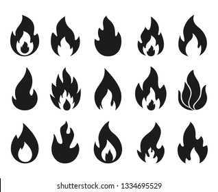 Fire flame icons. Simple burning campfire silhouette symbols, hot chile sauce, bonfire shape. Vector set of fire and flame logos