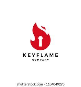 fire flame key logo icon