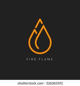 fire flame line art logo renewable alternative energy vector illustration icon best flat