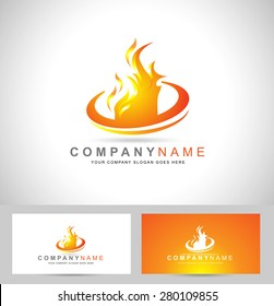fire flame corporate logo business card stock vector royalty free