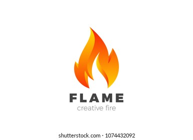 Fire Flame Logo design vector template. Burning Inferno Energy Power 3d Logotype concept icon.