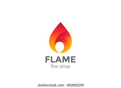 Fire Flame Logo design vector template droplet shape. Red drop Logotype concept icon.