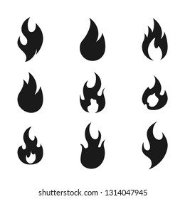 Fire flame logo icon set, vector illustration