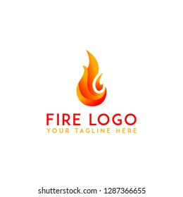Fire flame logo template on withe background