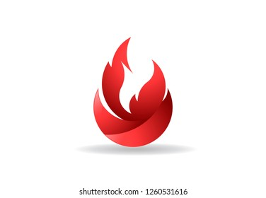 Fire flame with negative space. Vector Logo Symbol