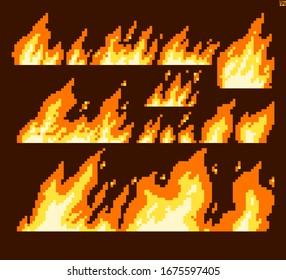 Fire Flame Pixel Art Vector Illustration