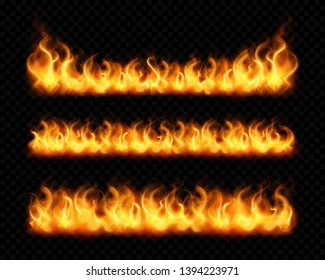 Fire flame realistic borders set of horizontal burning bonfires isolated on dark transparent background vector illustration