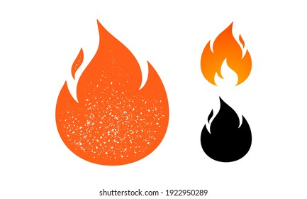 Fire, flame. Red flame in abstract style on white background. Flat fire collection set. Modern art isolated graphic. Fire sign. Vector Illustration
