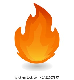 Fire Flame Red. Hot Small Flames Icon. Illustration Face Vector Design Art.
