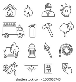 Fire, flame. safety line icon set.